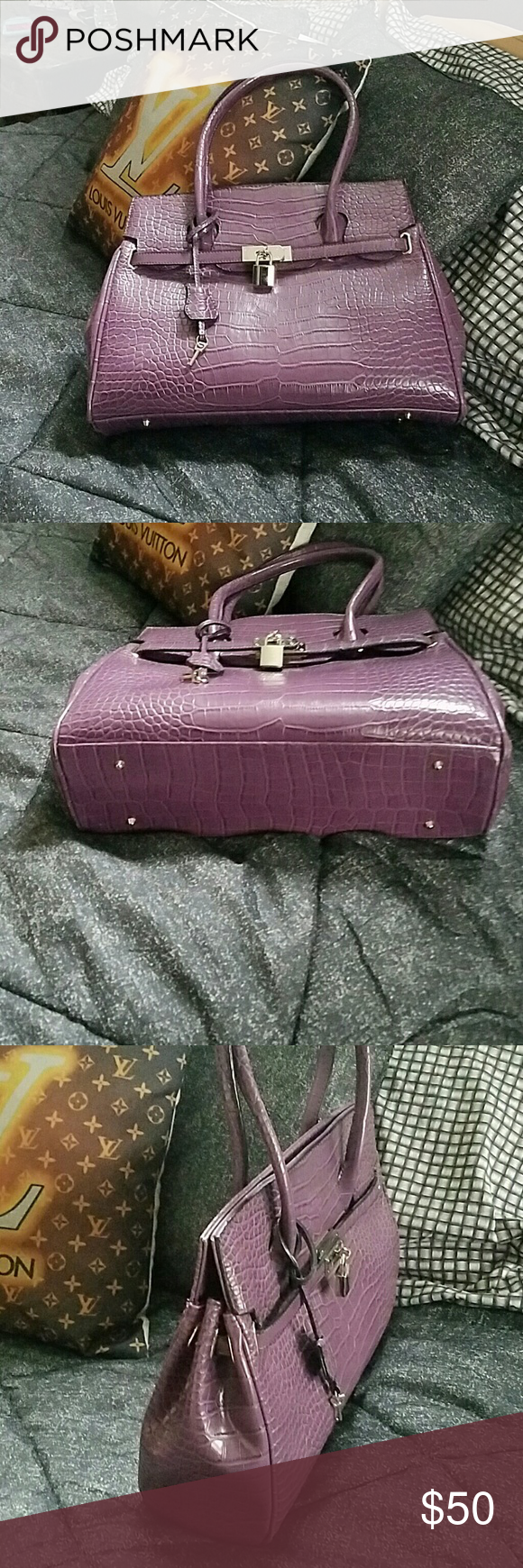 Faux leather New bag with silver hardware, reposhing  to small for me Bags Satchels