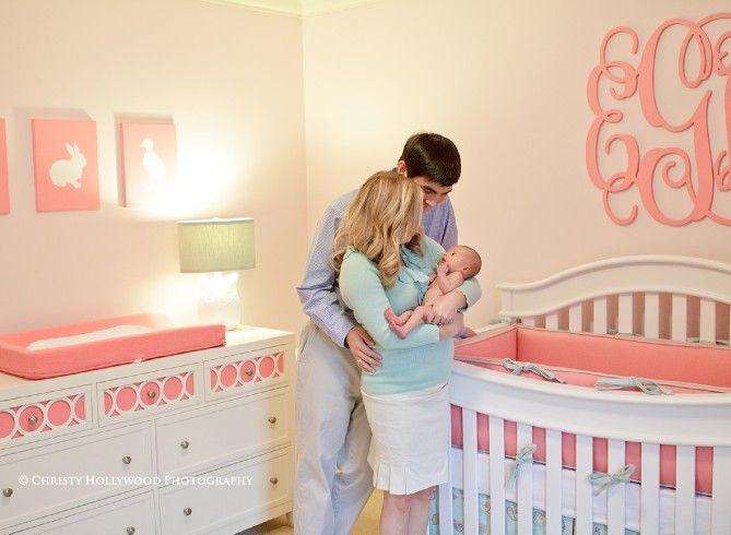 Pink And Aqua Newborn Nursery Monogram Photographer Greenville Sc