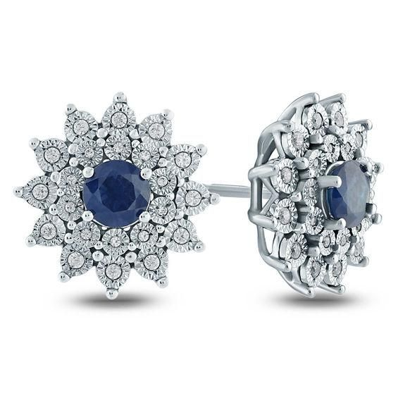 Zales 5.0mm Lab-Created Blue Sapphire and Diamond Accent Frame Stud Earrings in Sterling Silver 3Q3OMerRq