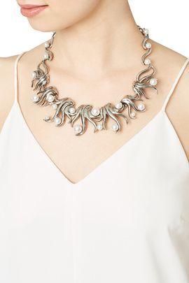 Silver Sea Swirl Pearl Necklace by Oscar de la Renta
