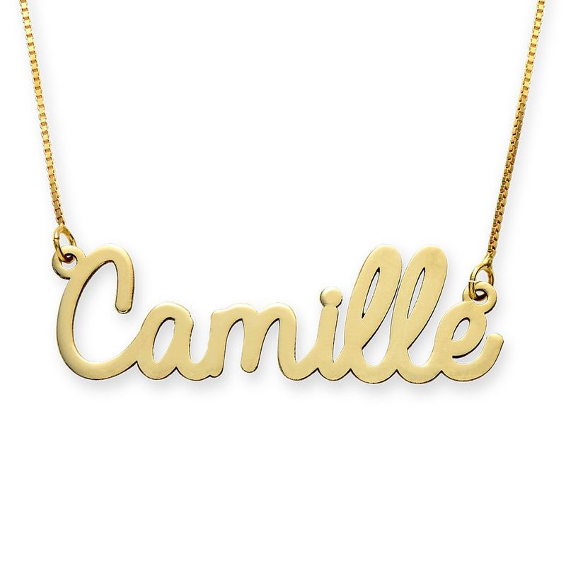 Personalized Cursive Name Necklace In 10k Yellow Gold Name Necklace Star Charm Necklace Silver Necklace Statement