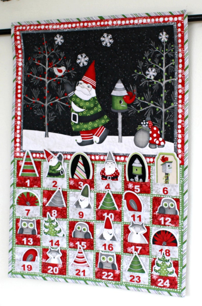 Quilted Advent Calendar, Gnomes Calendar with Treat
