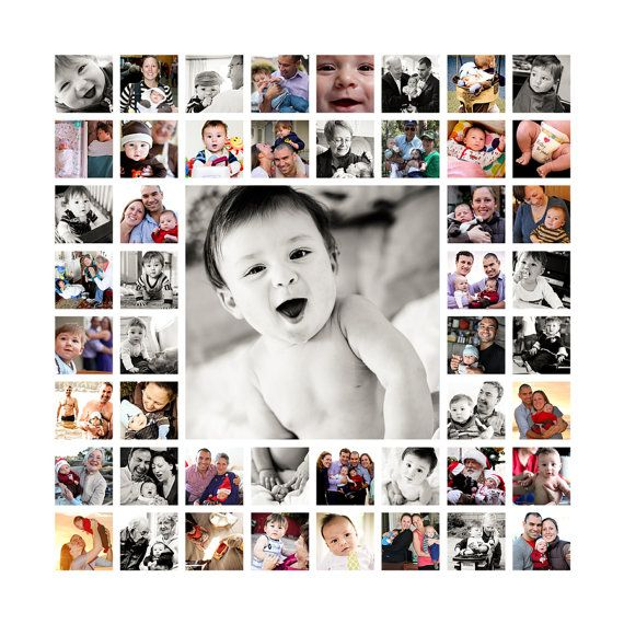 Canvas Of Baby S First Year Or Create For A Special Anniversary Or 50th Bday Or One Big Photo Shoot E Photo Collage Canvas Photo Collage Design Collage Design