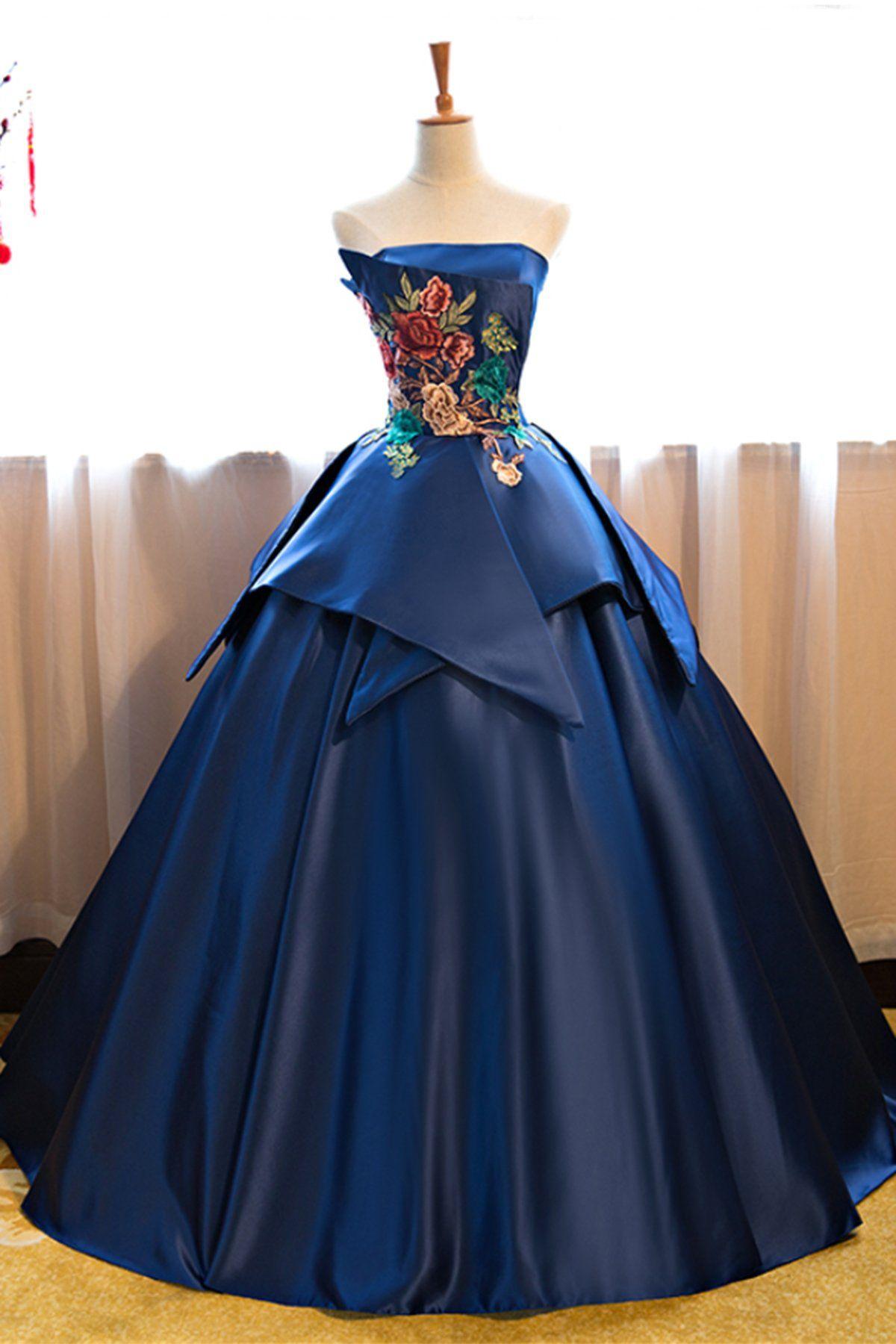 Prom dressesnew fashion prom dressesnavy blue strapless long