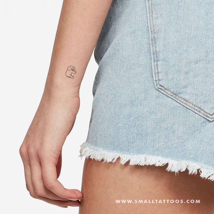 Baby Elephant Temporary Tattoo (Set of 3)