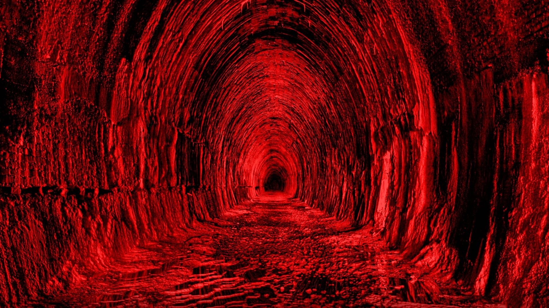 Download Wallpaper 1920x1080 Tunnel Red Black Light Full Hd 1080p