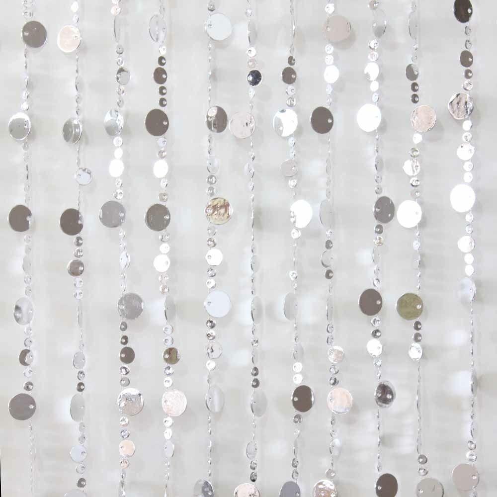 90x180cm beaded door curtains retro silver disk design mq