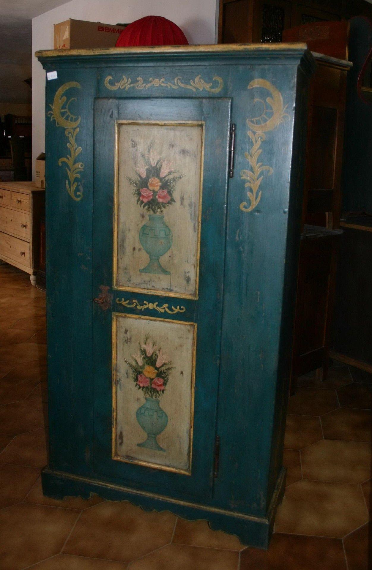 Mobili dipinti armadi cassettoni madie comodini murace piercarlo c s a s negozio - Mobili antichi colorati ...