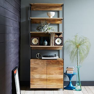"""Rustic Modular 33"""" Open + Closed Storage #westelm   33w x 17d x 84h. One on each side of fireplace."""