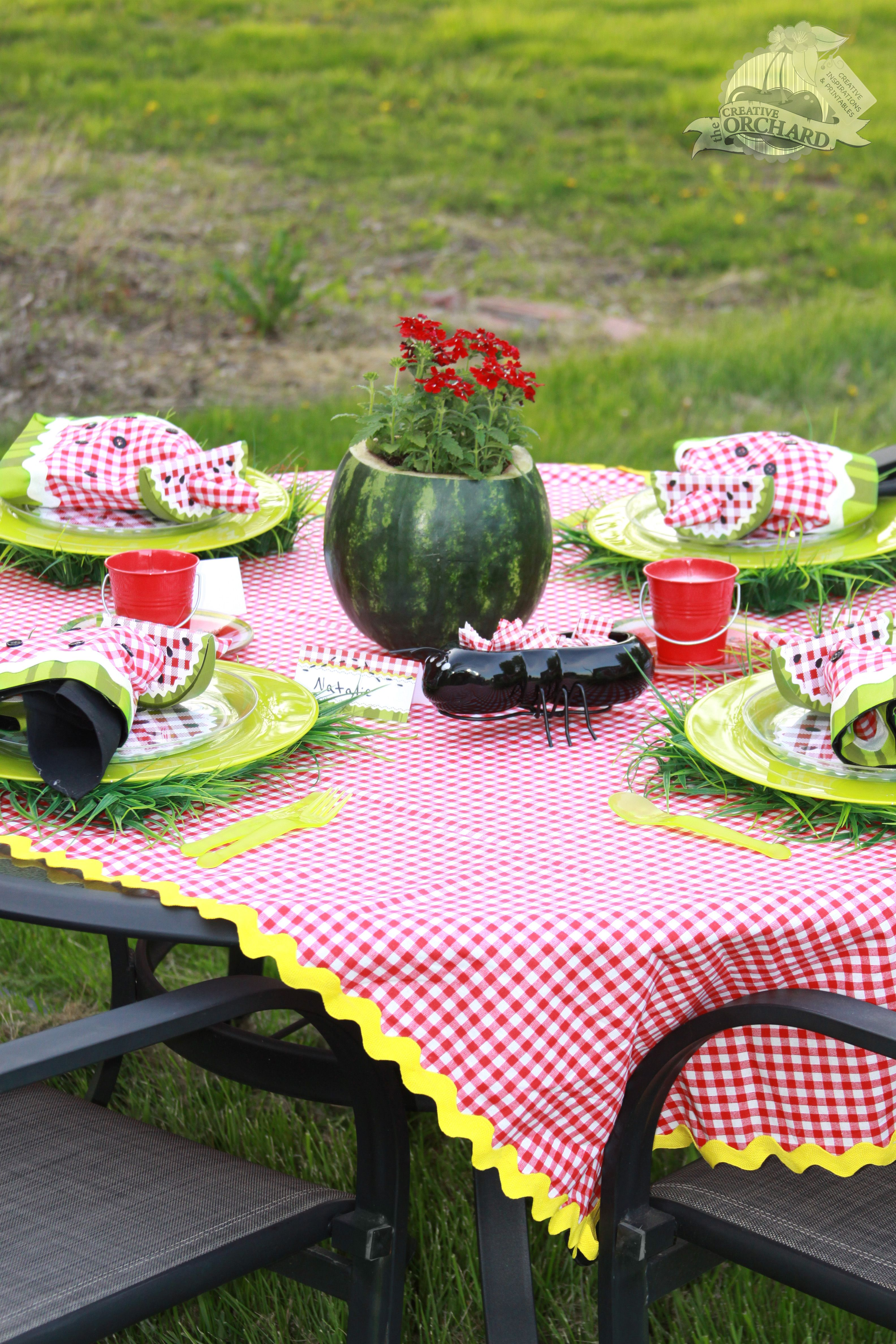Picnic Table Setting- I like the flowers in the watermelon idea. & Picnic Table Setting- I like the flowers in the watermelon idea ...