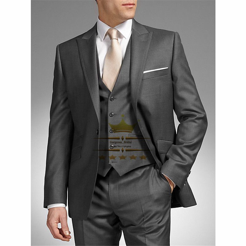 Find More Suits Information about Custom Dark Gray Tuxedos Wedding ...