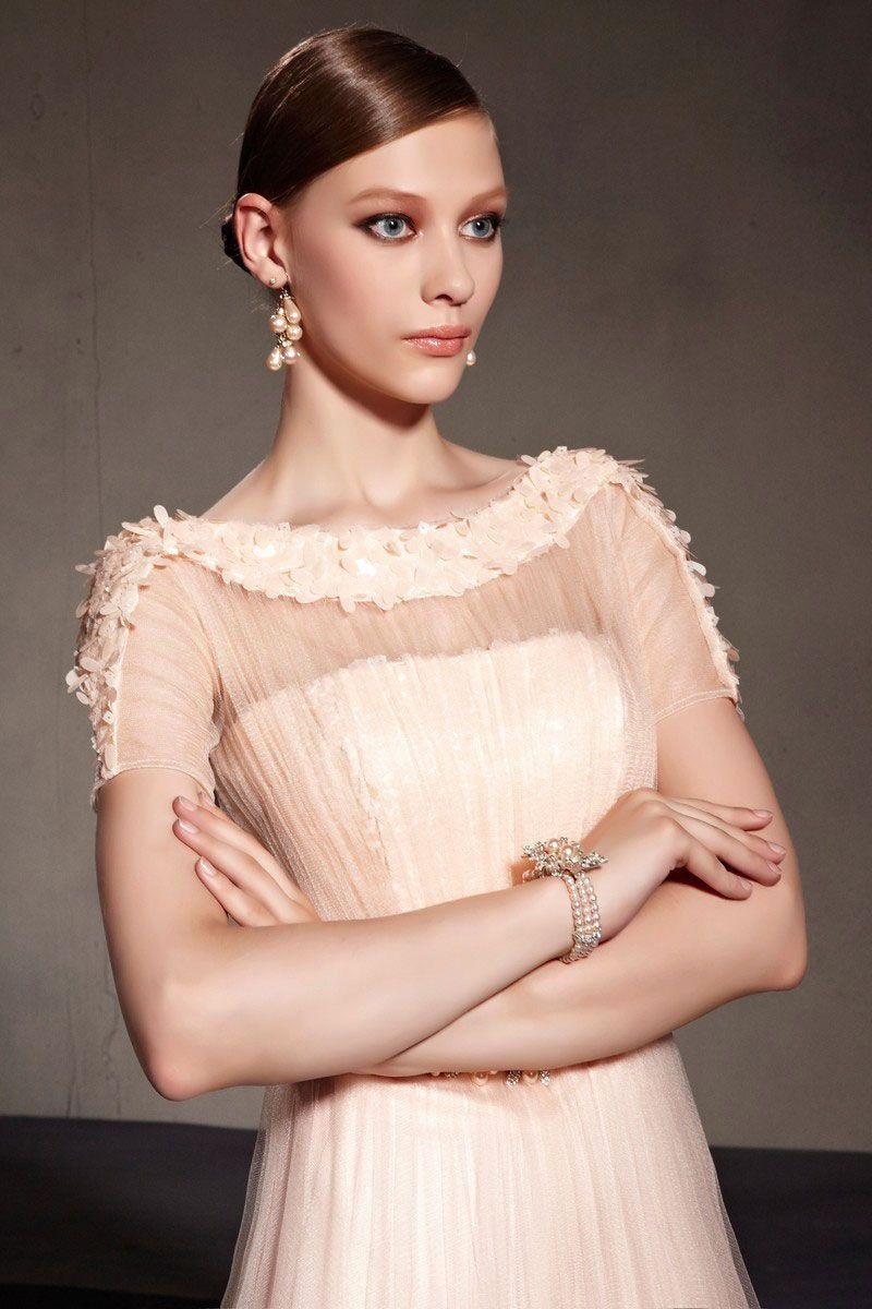 Chic Rosa A Linie Rund Ausschnitt Langes Tüll Abendkleider mit ...