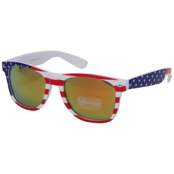 Mechaly Wayfarer Style USA flag Sunglasses with Yellow mirrored Lens (£28) ❤ liked on Polyvore featuring accessories, eyewear, sunglasses, yellow sunglasses, uv protection sunglasses, yellow wayfarer sunglasses, mirror lens sunglasses and uv protection glasses