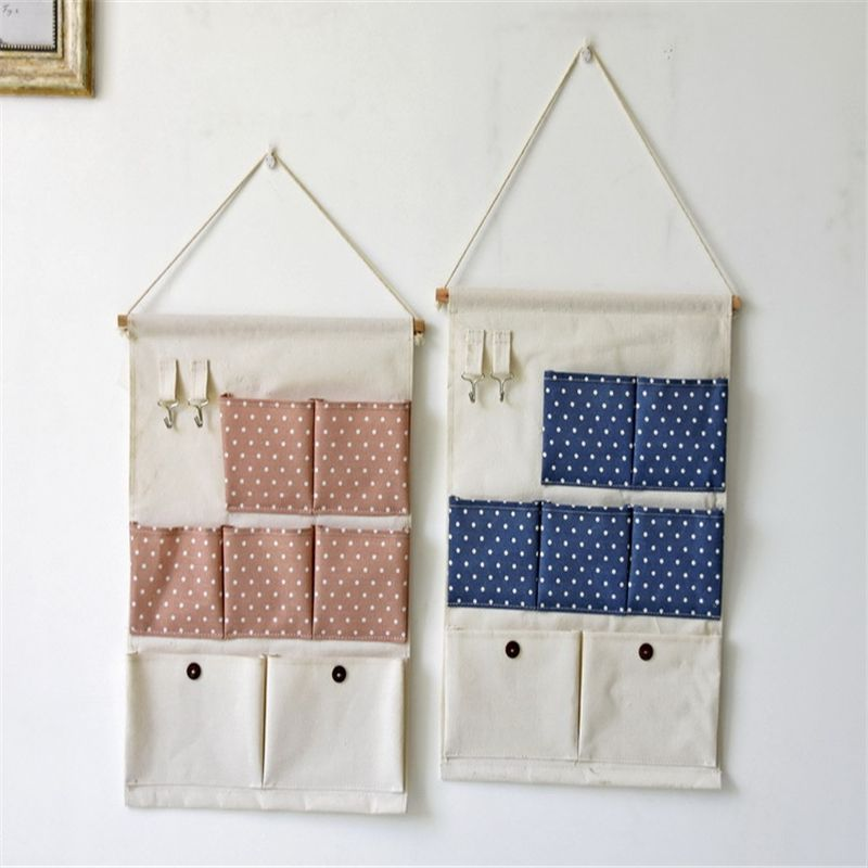 New Natural Hanging Storage Pockets Cotton Linen 7 Pockets Organizer Fabric  Hanging Type Mini Dots Pouch