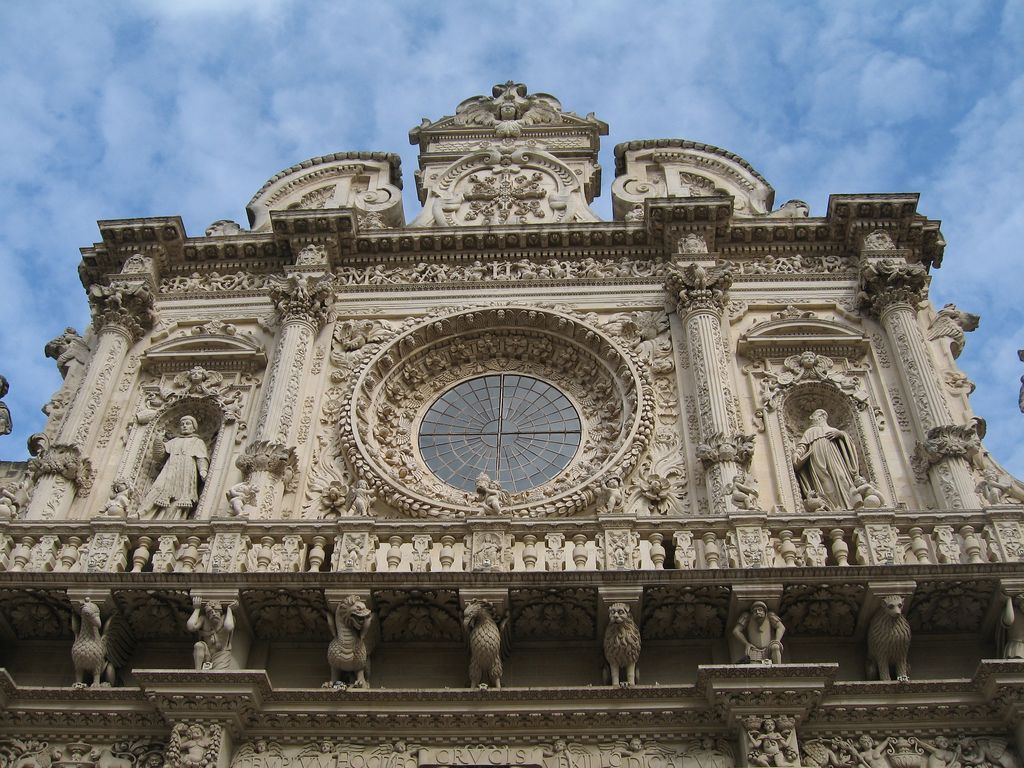lecce, italy baroque architecture at the church of the holy cross