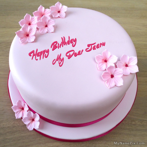 The Name My Dear Jaanu Is Generated On Pink Birthday Cake With Image Download And Share Images Impress Your Friends