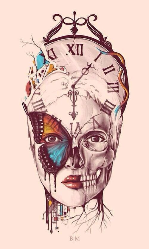 Woman's face with half a skeleton & other half a face  with a butterfly & a clock behind her head art