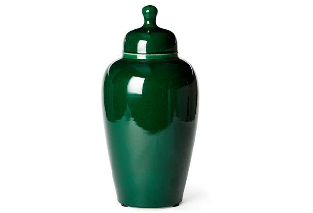 "19"" Porcelain Tea Jar, Jade Green"