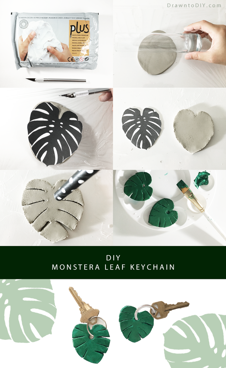 Diy monstera leaf keychain clay leaves and keychains diy clay monstera leaf keychain by drawn to diy solutioingenieria Images