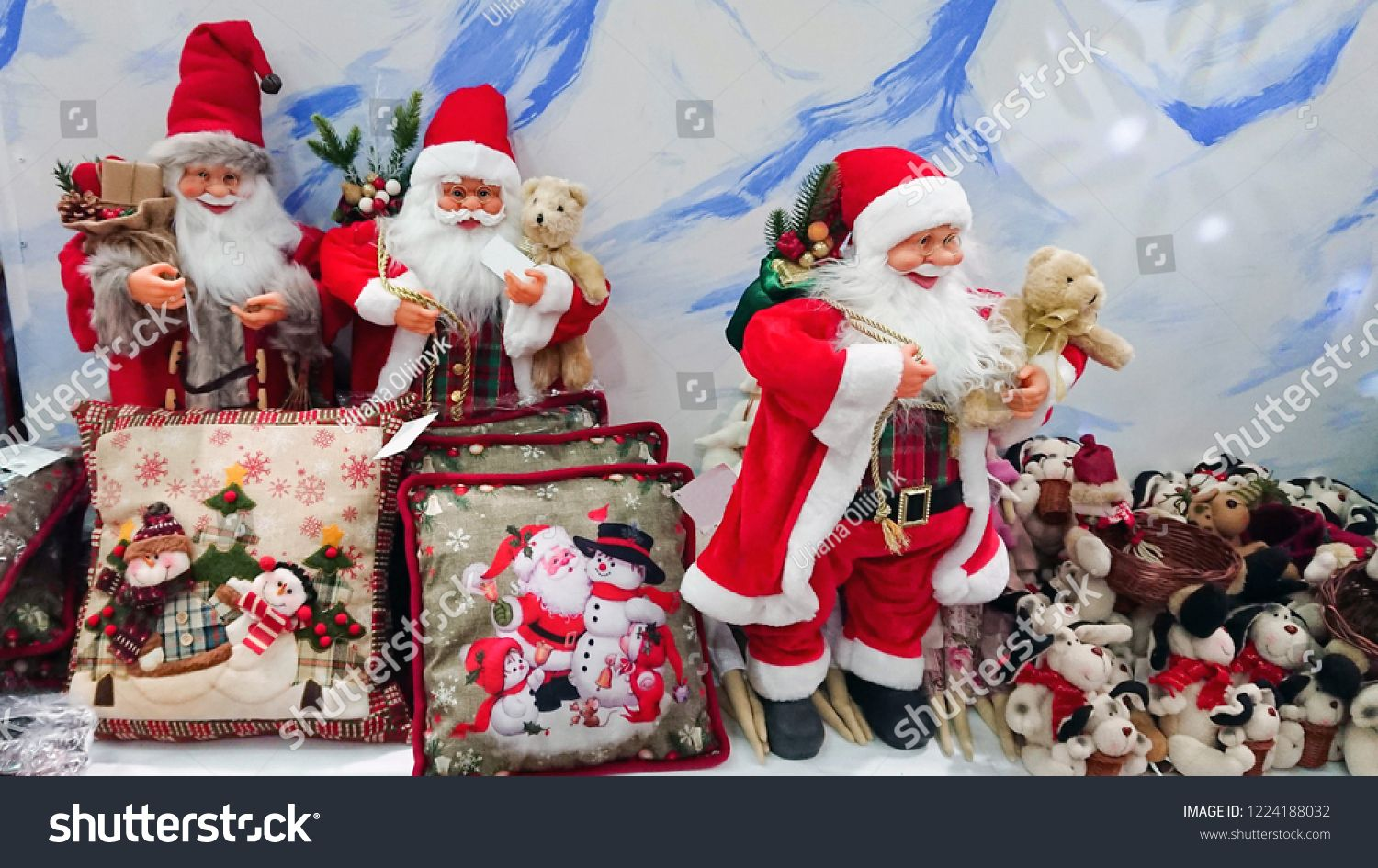 Christmas Decor Statuettes And Pillows From Santa And Snowmen