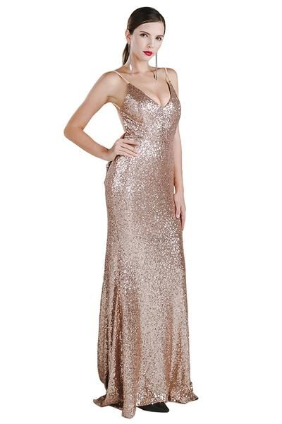 Honey Couture KRISTY Gold Low Back Bow Sequin Formal Gown Dress 77d0a5113