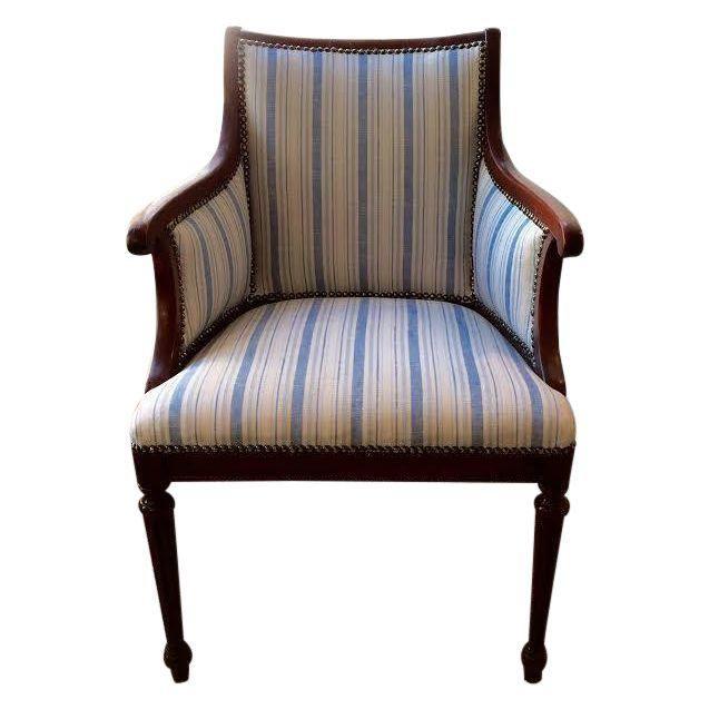 Best Vintage Blue White Striped Nailhead Chair Vintage 400 x 300