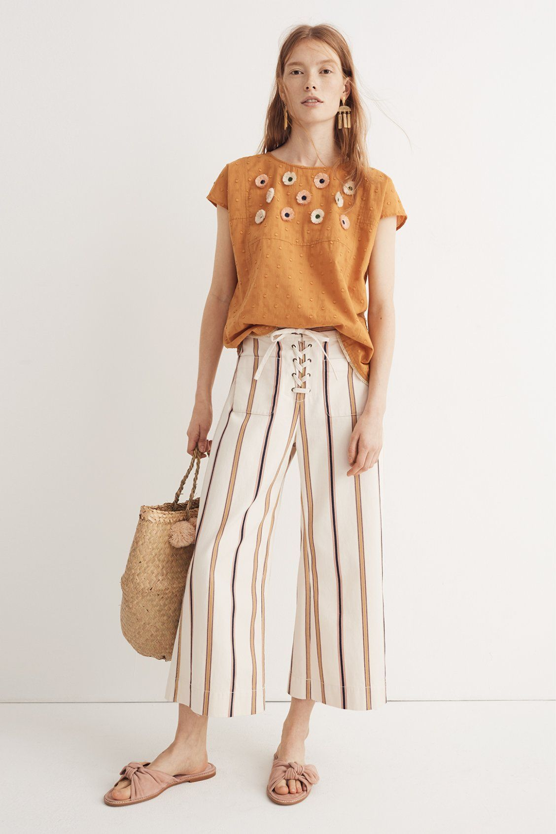 46514d2093559 madewell embroidered daisy top worn with striped wide-leg crop pants + the  naida half-bow sandal. call 866 544 1937 or email shopfirst madewell.com to  ...
