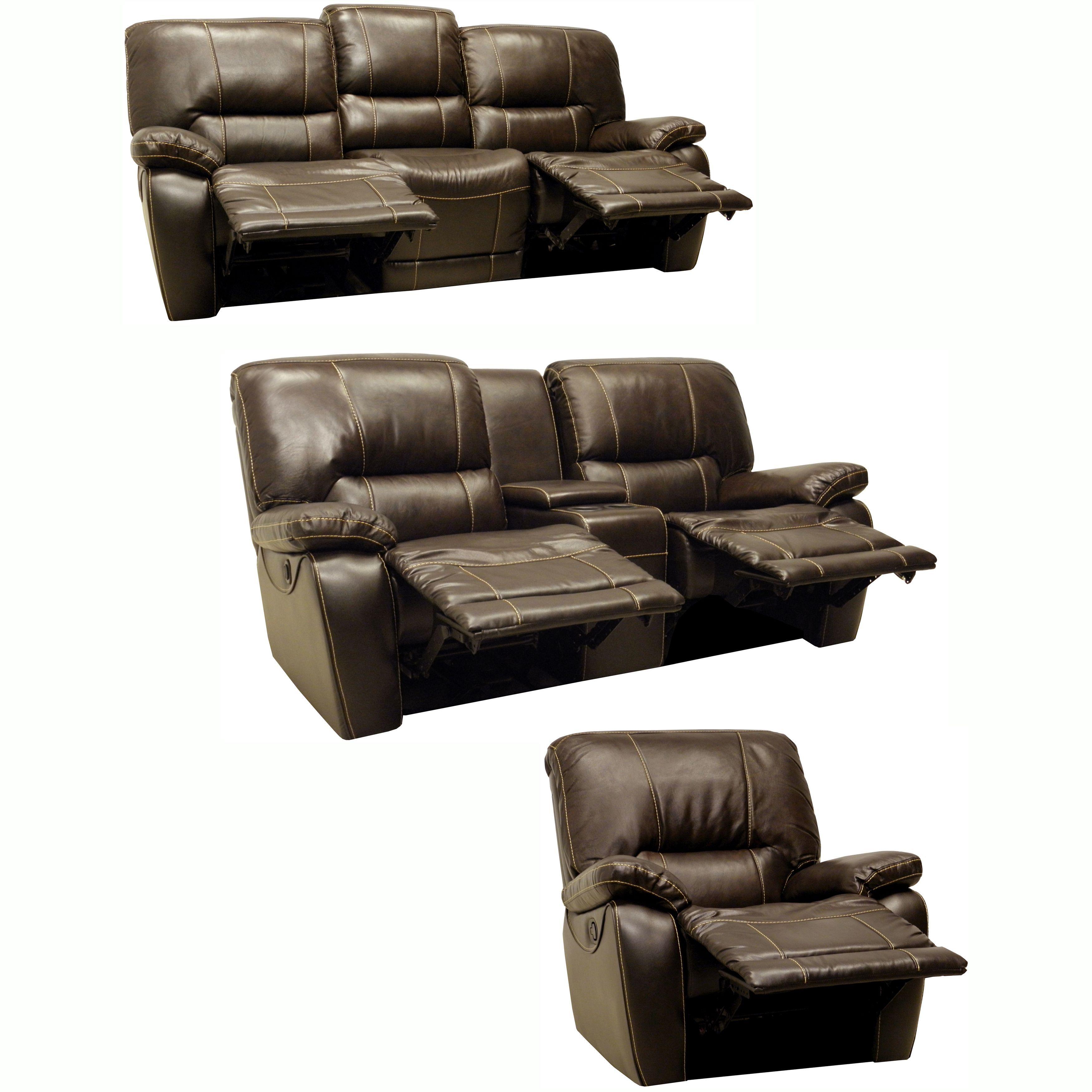 The Walton Dark Brown Italian Leather Motorized Reclining Sofa Loveseat And Glider