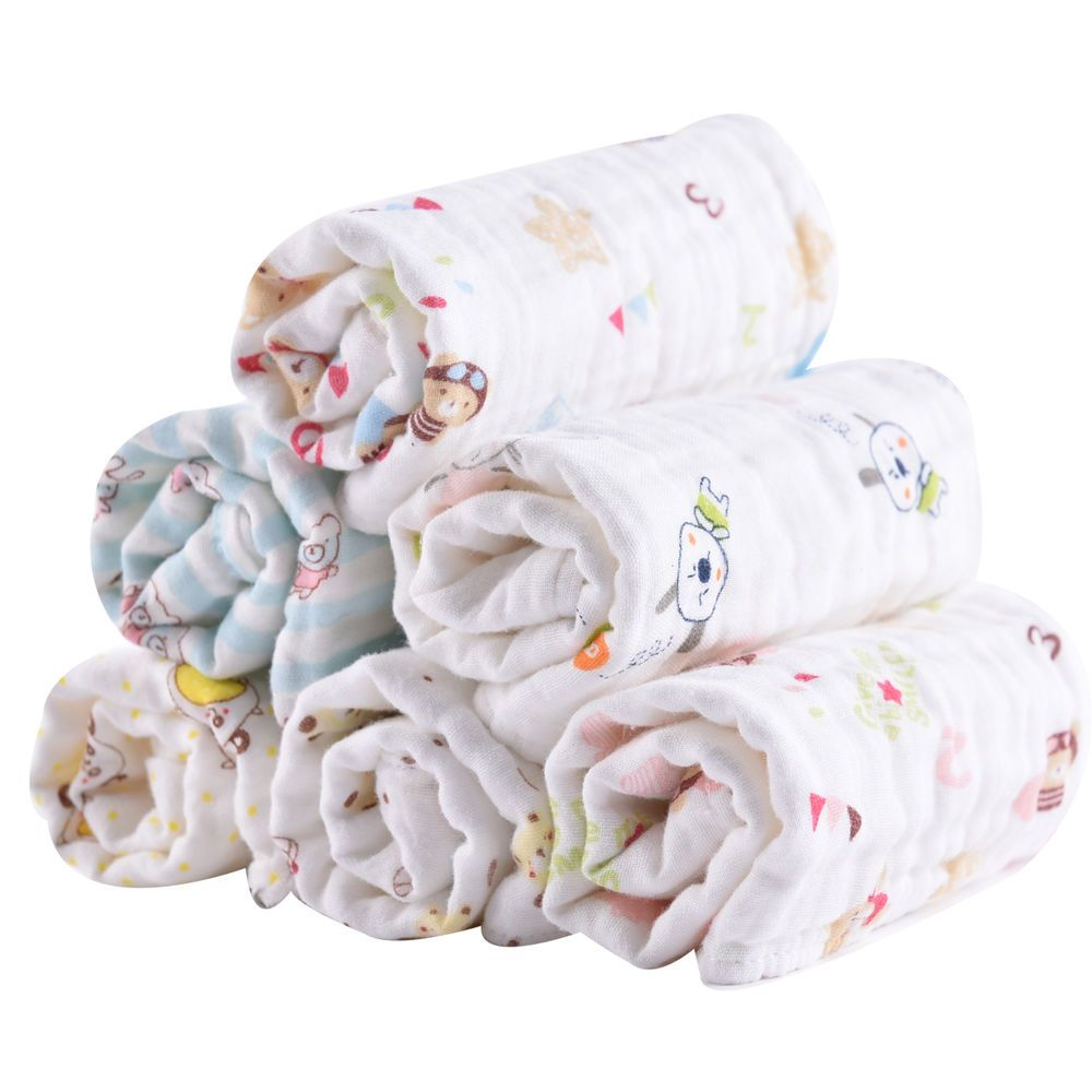 6 Pack 100 Cotton Muslin Towel 6 Layers Baby Muslin Wash Cloth Quick Drying New Baby Washcloth Baby Sensitive Skin Washing Clothes