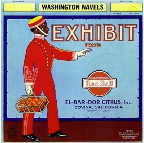 Covina CA, Exhibit Brand fruit crate label