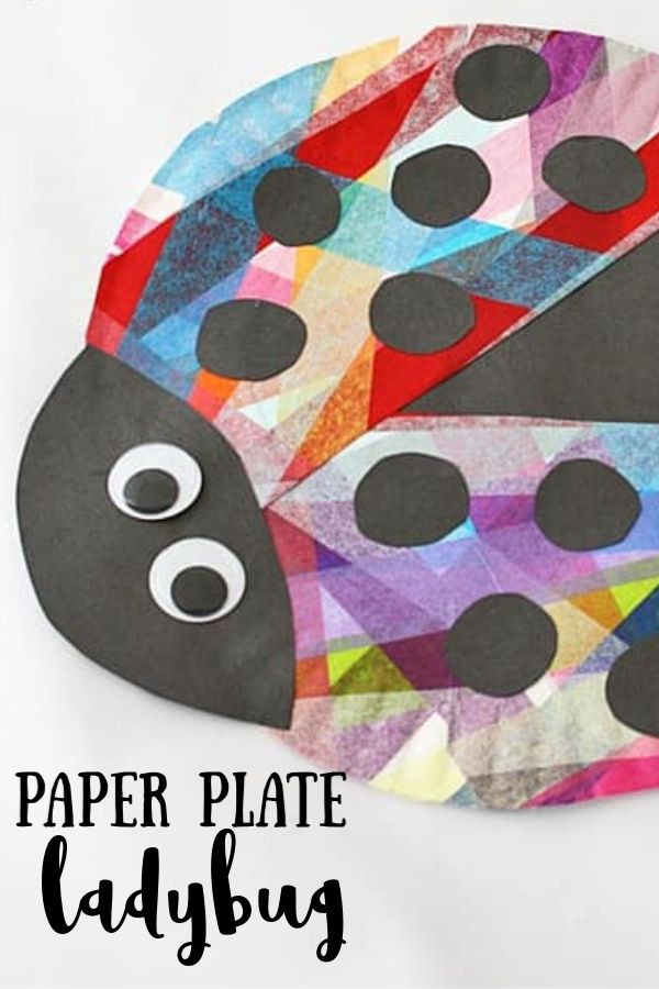 Adorable paper plate ladybug uses tissue paper to make it so colorful! #paperplate #paperplatecraft #paperplatekidscraft #kidscraft #ladybugcraft #rainbow #summercraft #tissuepaper #craftsbyamanda
