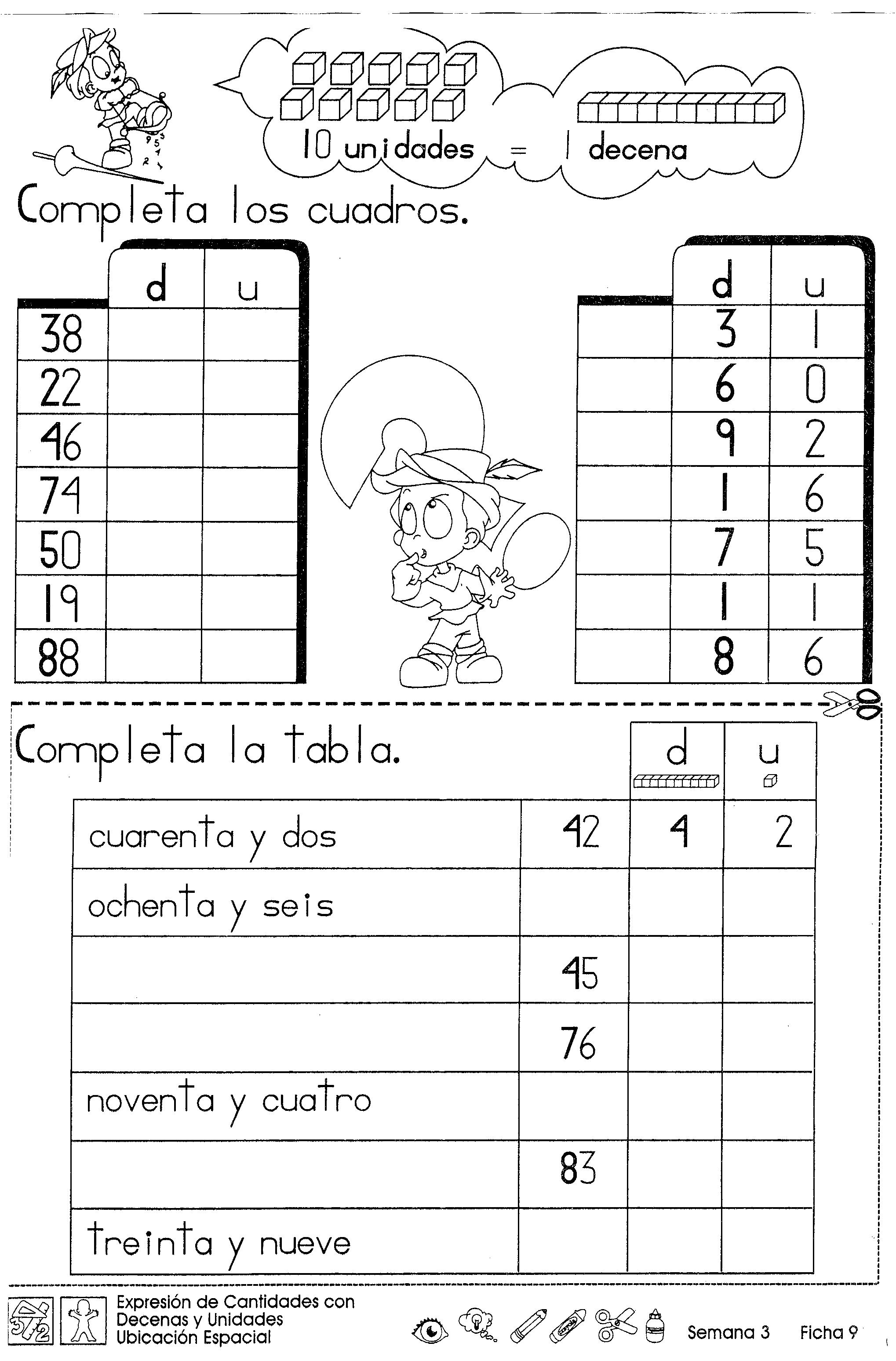 Expresión De Cantidades Con Decenas Y Unidades Ubicación Espacial 2do Grado Decenas Y Unidades Matematicas Primero De Primaria Matematicas Tercero De Primaria