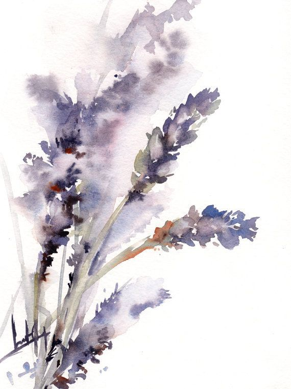 Lavender Painting Original Watercolor Painting Purple Floral