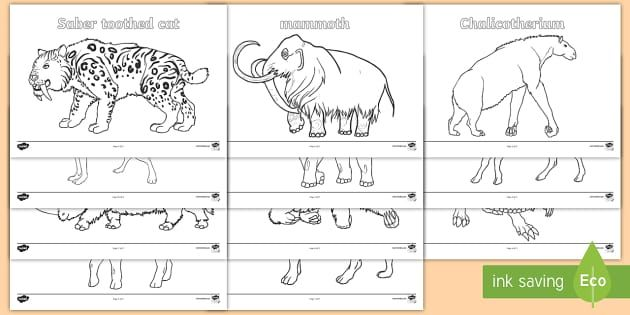 Stone Age Animals Colouring Pages - Stone Age Animals Large ...