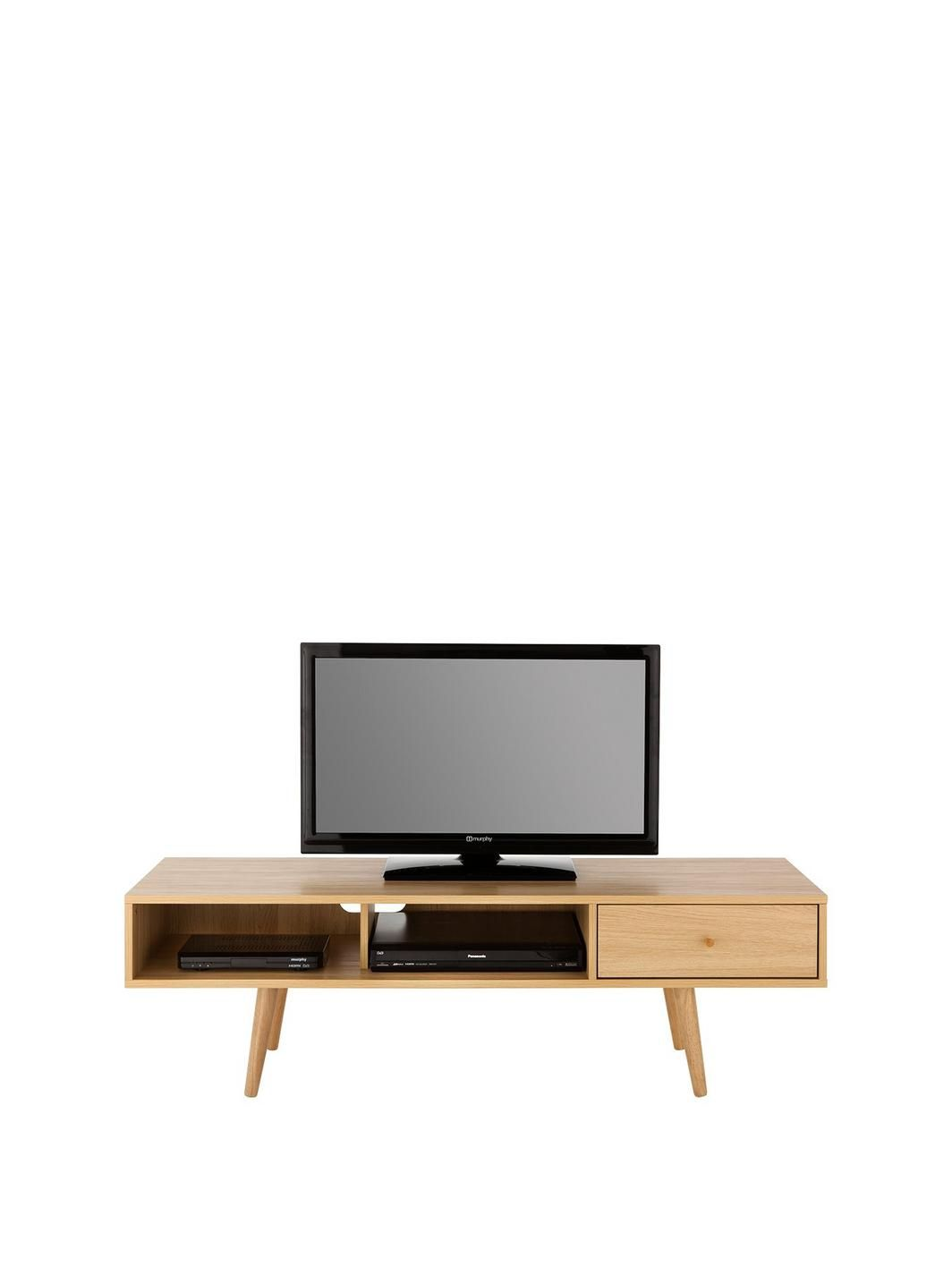 Monty Retro Tv Unit Fits Up To 60 Inch Tv Oak Effect Tv Unit  # Meuble Support Tv Blanc