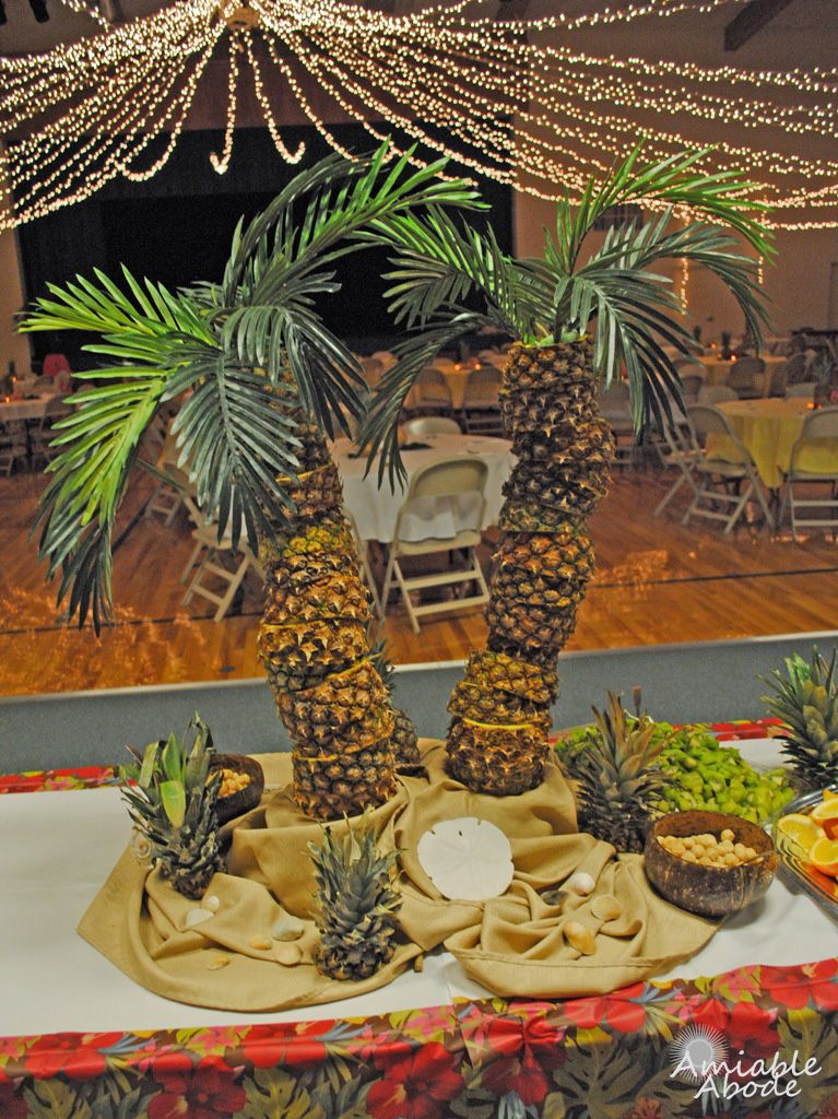 Amiable Abode: Pineapple Palm Tree Centerpiece - Amiable Abode: Pineapple Palm Tree Centerpiece Party Layout