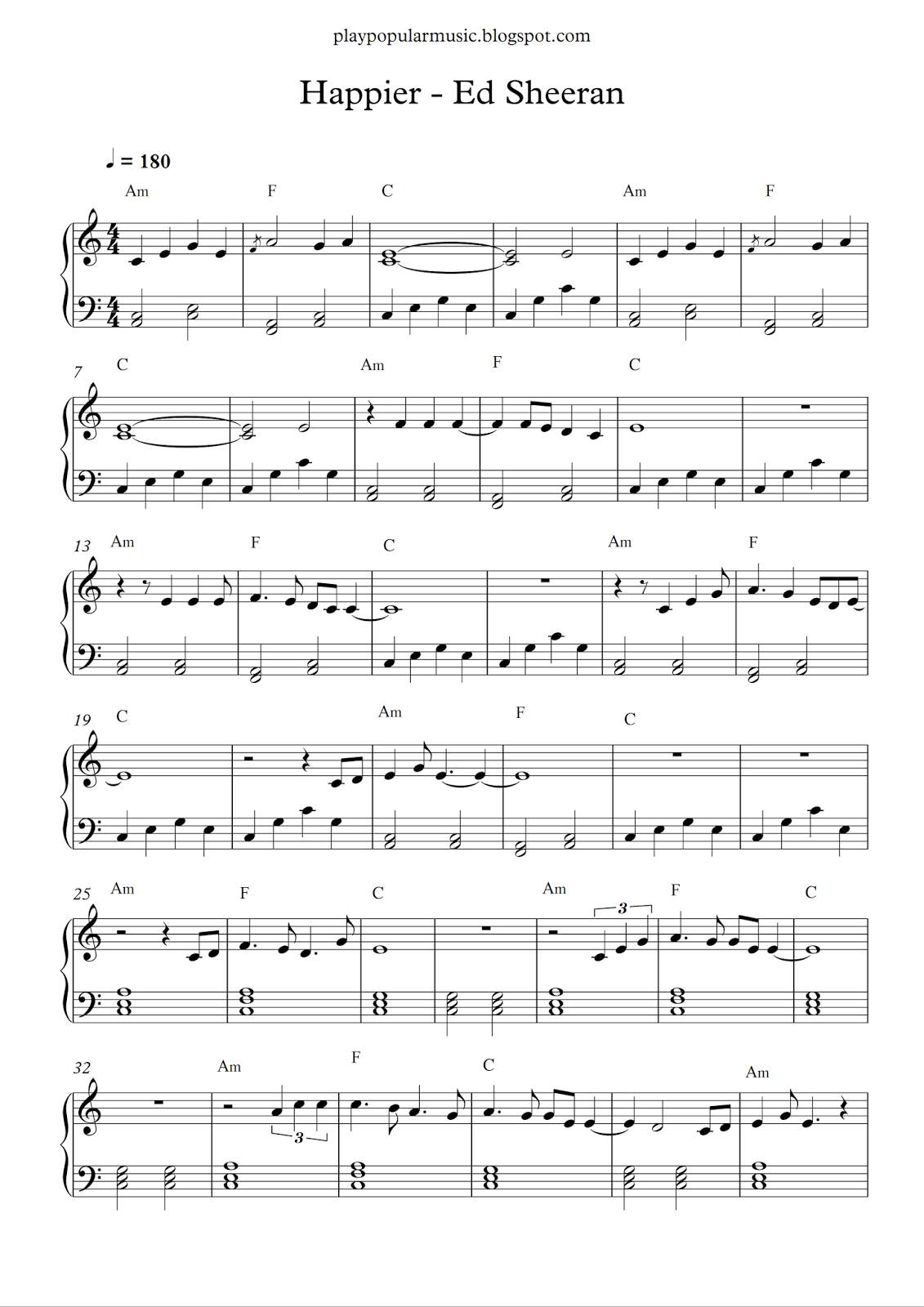 Free piano sheet music: Ed Sheeran - Happier.pdf I could try to ...