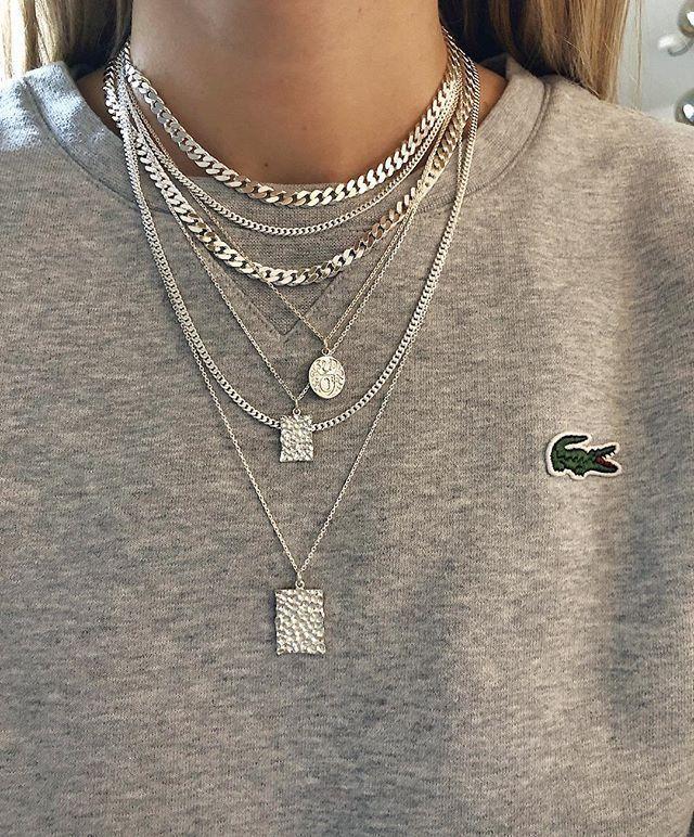 Geschichteten Halsketten Layered Necklaces Geschichteten Halske...
