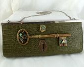Steampunk Clutch, Large and Green with crocodile print, Key to my heart, Vintage Noir, Neo Victorian fabulous