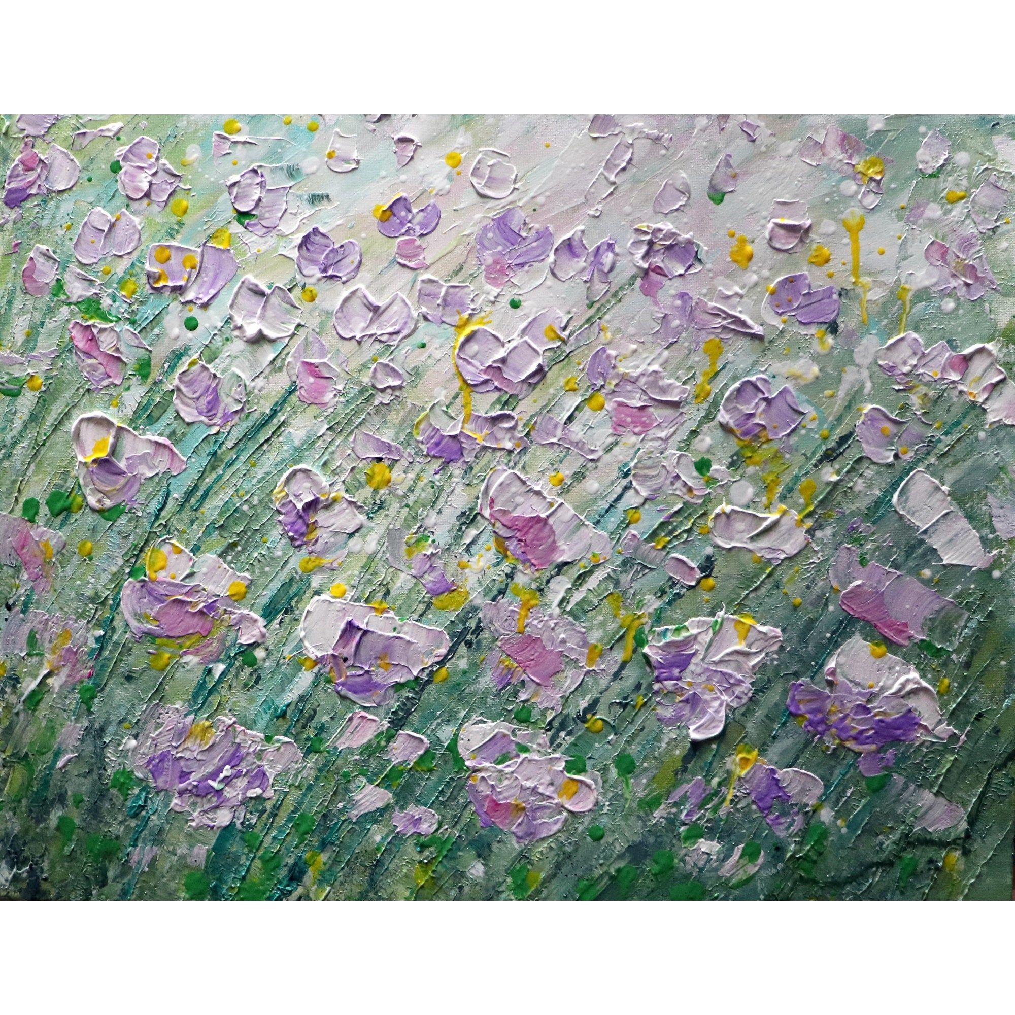 Spring Flowers Original Painting Impasto Textured Flowers Art By Luiza Vizoli Purple Lavender Pink Spring Wildflowers In 2020 Flower Art Original Paintings Painting
