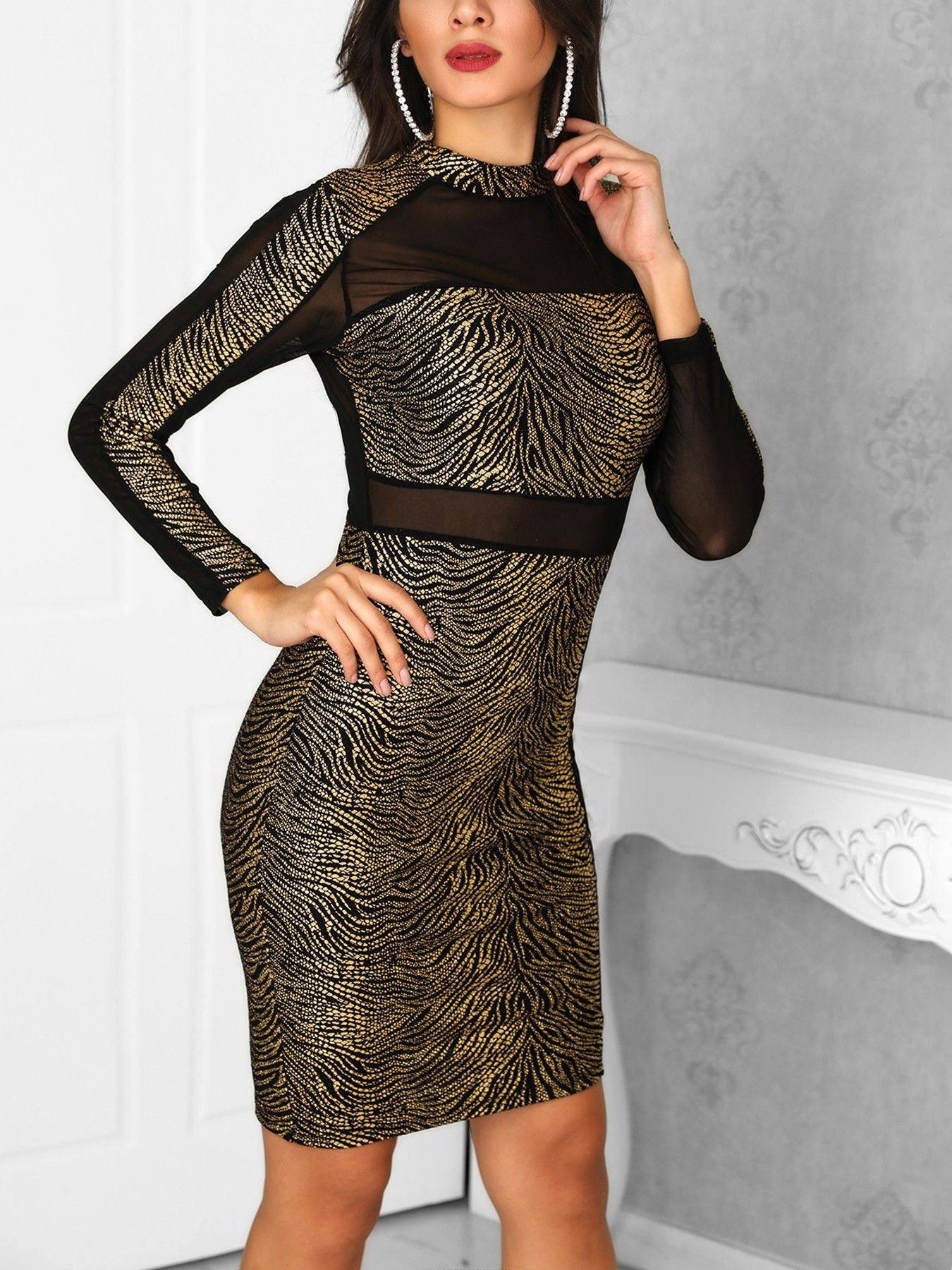 57f762cb93 Long Sleeve Mesh Splicing Party Dress | All Time NEW &Fashion ...