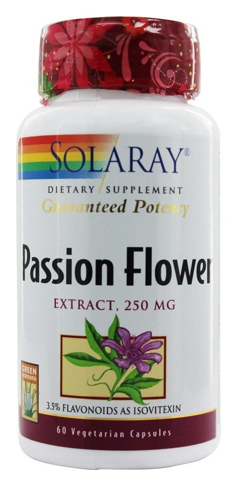 Solaray Guaranteed Potency Passion Flower Extract 250 Mg 60 Vegetarian Capsules Health Wellness Natural Remedies Health
