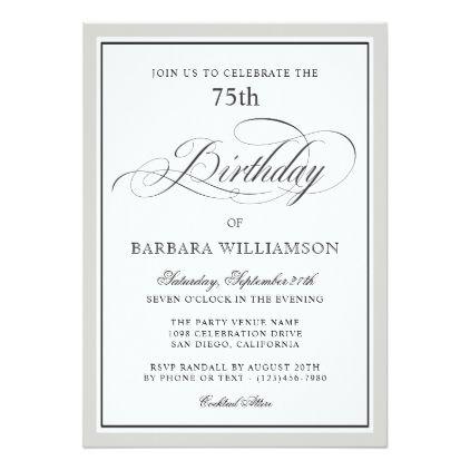 Elegant Script 75th Birthday Party Invitation Birthday Party
