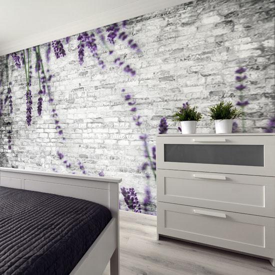 Tapeta Z Galazkami Lawendy Na Tle Muru Z Cegly Home Decor Home Decor