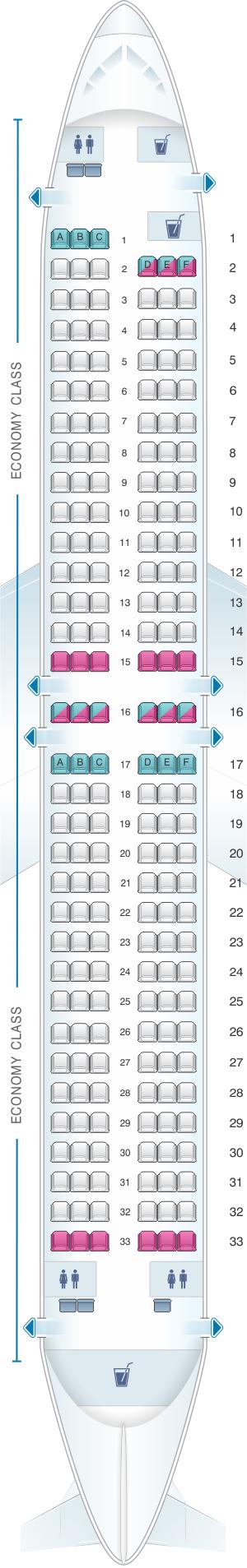 Seat Map Rossiya Airlines Boeing B737 800 195PAX Rossiya