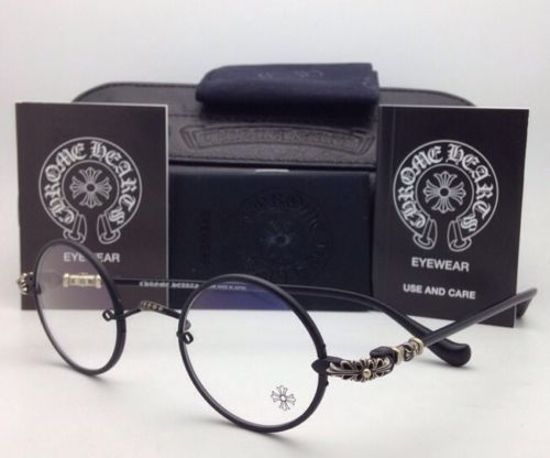 fde59a1c5587 New Chrome Hearts Eyeglasses Wolfy MBK Matte Black Round Metal Frames 42 23  144