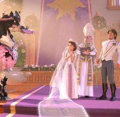 *MAXIMUS, RAPUNZEL & EUGENE FITSHERBERT ~ Tangled, 2010.....So funny. Love how Eugene slowly inches towards the horse, grabs the rings, and keeps a close eye as he slips it onto Rapunzel's finger!