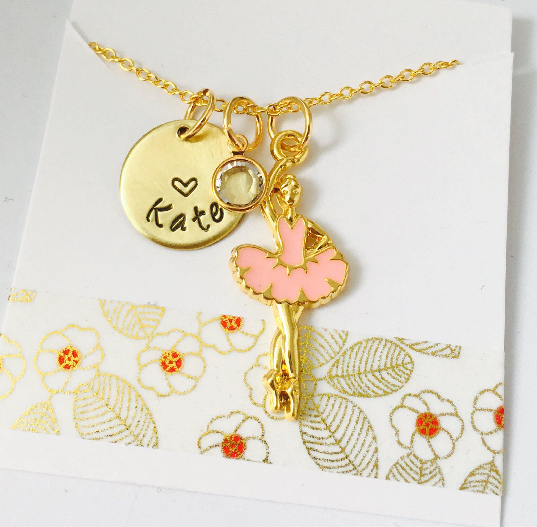Ballerina necklace dancer necklace gold ballerina necklace dance
