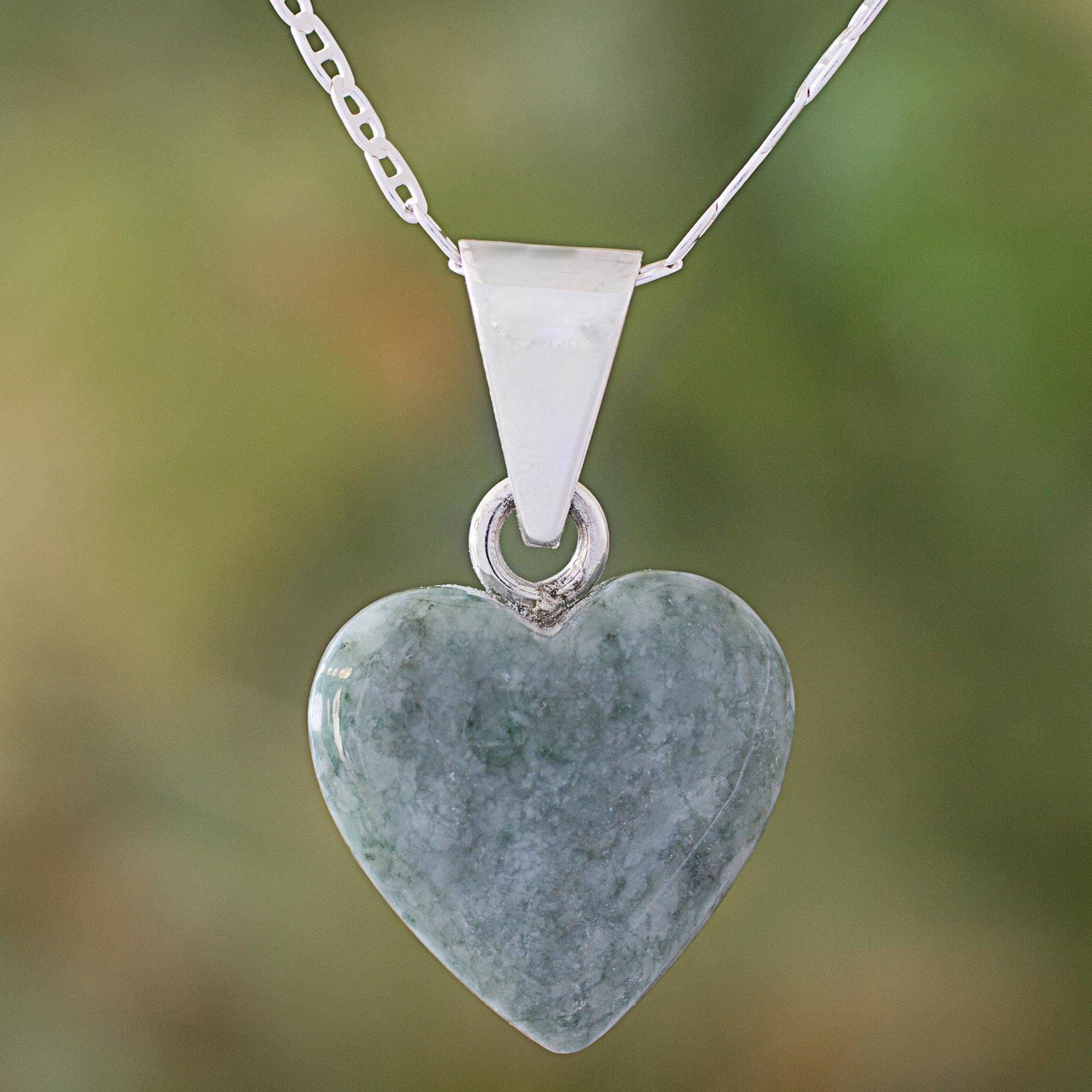 Light Green Jade Silver Heart Pendant Necklace Guatemala, Mayan Heart