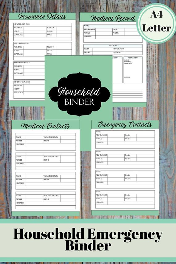 Home Emergency Information Binder Insurance Information Medical